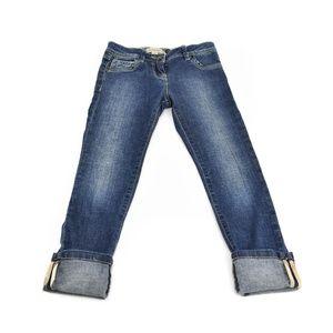 BURBERRY Blue Denim Logo & Nova Check Skinny Jeans
